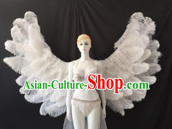 Brazilian Carnival Samba Dance Catwalks Costumes Swimsuit and White Feather Wings for Women