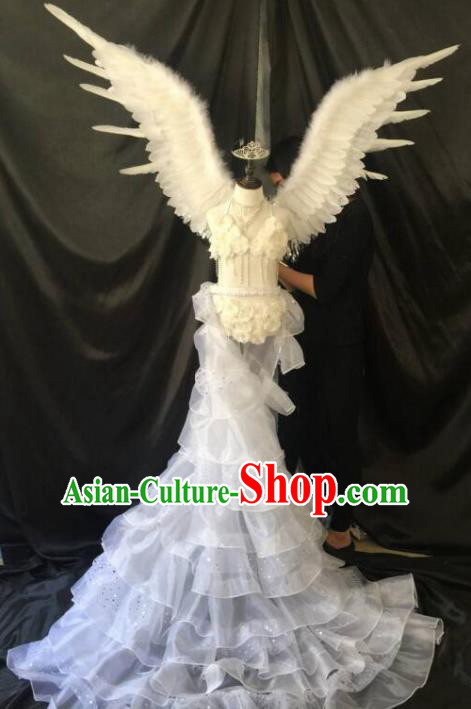 Brazilian Carnival Samba Dance Catwalks Costumes Trailing Swimsuit and White Feather Wings for Kids