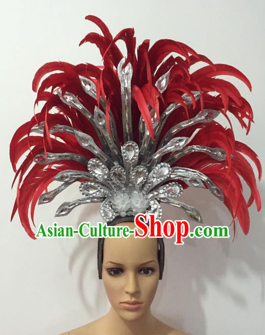 Brazilian Rio Carnival Samba Dance Red Feather Deluxe Headdress Stage Performance Hair Accessories for Women