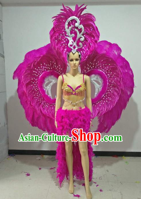 Brazilian Carnival Samba Dance Catwalks Costumes and Props Rosy Feather Swimsuit and Wings for Women