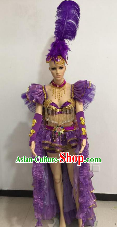 Brazilian Rio Carnival Samba Dance Costumes Catwalks Swimsuit and Purple Feather Headdress for Women