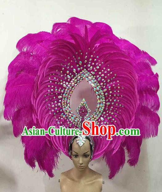 Professional Samba Dance Hair Accessories Brazilian Rio Carnival Rosy Feather Headdress for Women