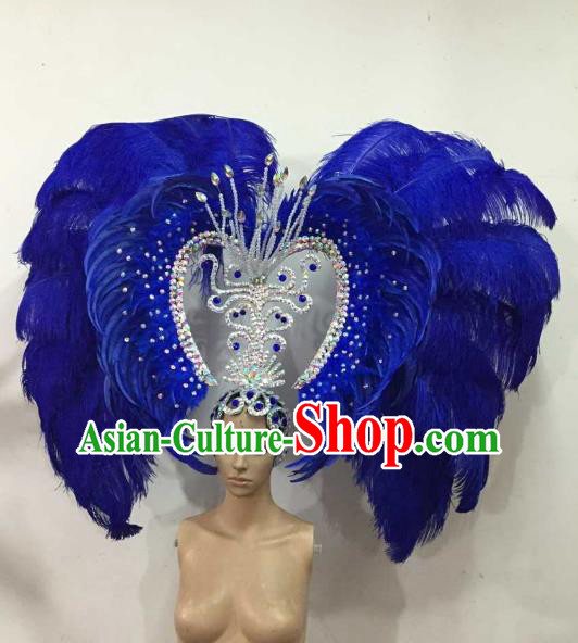 Professional Samba Dance Hair Accessories Brazilian Rio Carnival Royalblue Feather Headdress for Women