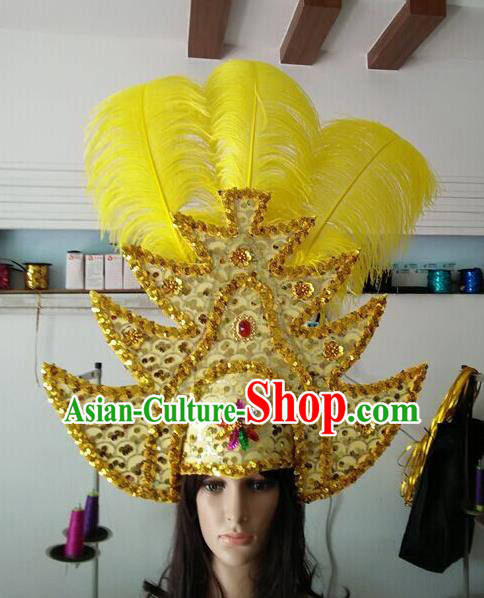 Professional Samba Dance Hair Accessories Brazilian Rio Carnival Golden Sequins Feather Headdress for Women