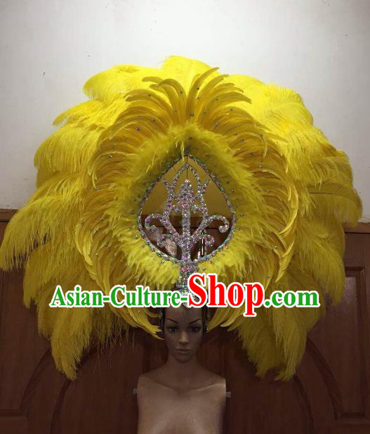 Professional Samba Dance Deluxe Hair Accessories Brazilian Rio Carnival Yellow Feather Headdress for Women