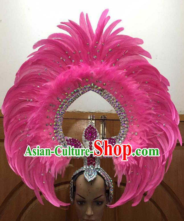Professional Samba Dance Deluxe Hair Accessories Brazilian Rio Carnival Pink Feather Headdress for Women