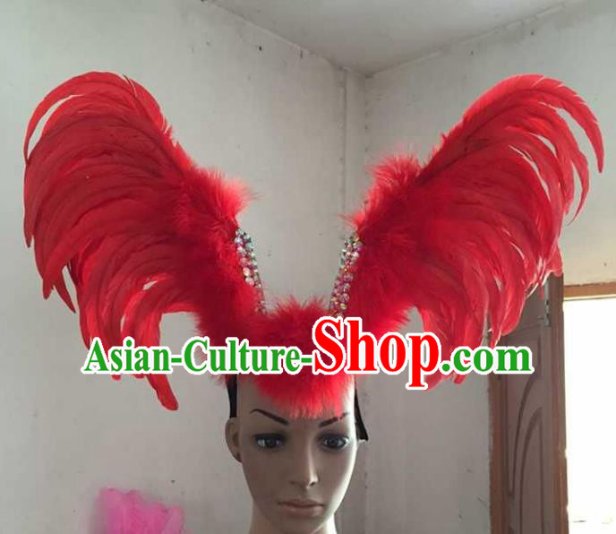 Professional Halloween Samba Dance Red Feather Hair Accessories Brazilian Rio Carnival Headdress for Women