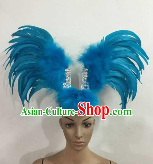 Professional Halloween Samba Dance Blue Feather Hair Accessories Brazilian Rio Carnival Headdress for Women
