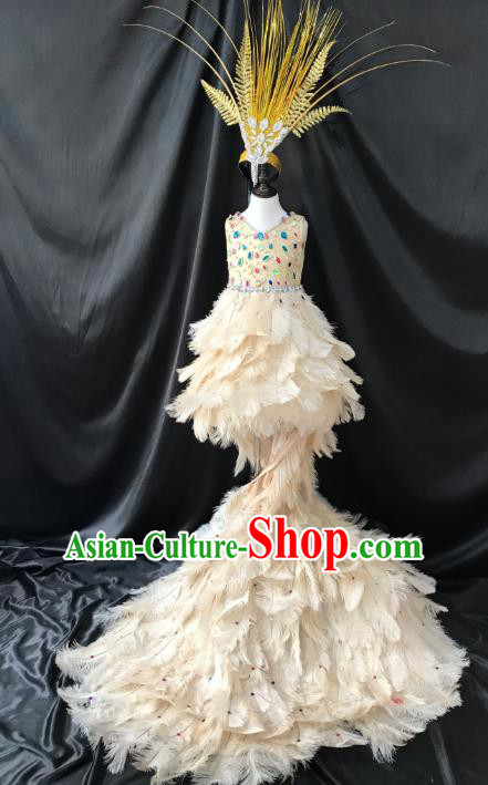 Brazilian Rio Carnival Samba Dance Costumes Catwalks White Feather Trailing Dress for Kids