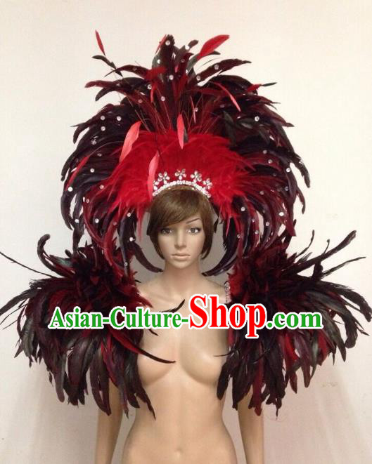 Customized Halloween Catwalks Props Brazilian Rio Carnival Samba Dance Feather Deluxe Shoulder and Headwear for Women