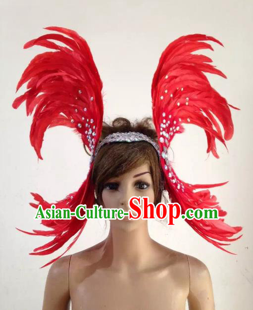 Professional Halloween Catwalks Red Feather Hair Accessories Brazilian Rio Carnival Samba Dance Headdress for Women