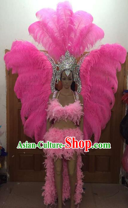 Brazilian Rio Carnival Samba Dance Pink Feather Costumes Catwalks Deluxe Wings Swimsuit and Headdress for Women