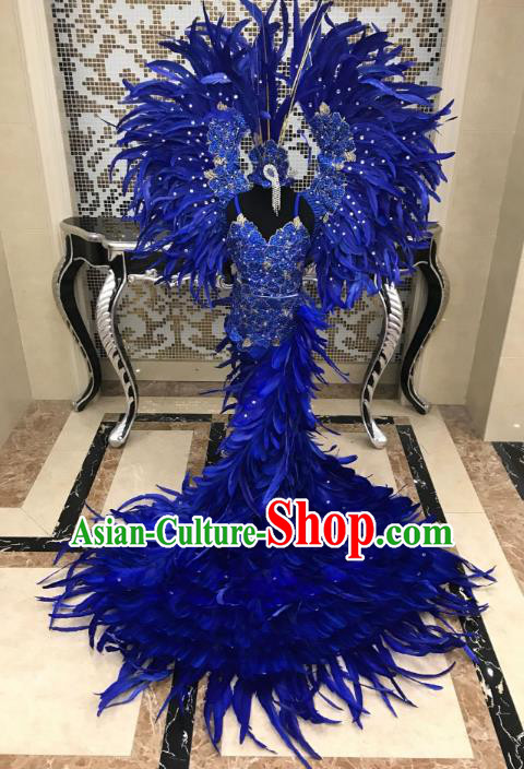Brazilian Rio Carnival Samba Dance Costumes Catwalks Blue Feather Trailing Swimwear and Wings for Kids