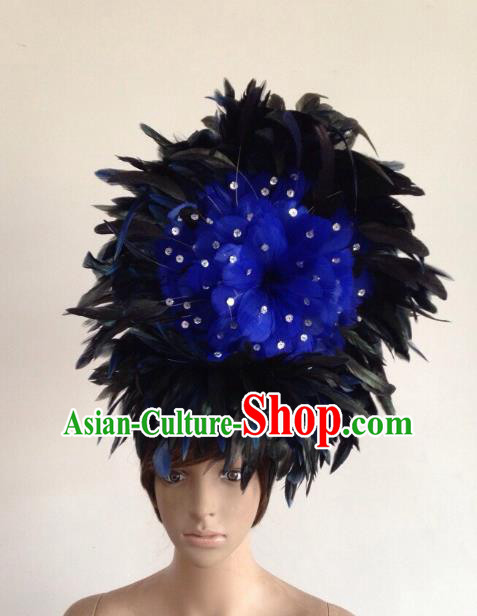 Professional Halloween Catwalks Hair Accessories Brazilian Rio Carnival Samba Dance Blue Feather Headwear for Women