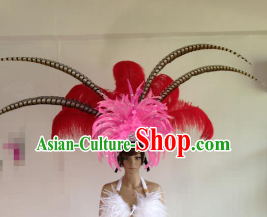 Professional Halloween Catwalks Samba Dance Hair Accessories Brazilian Rio Carnival Deluxe Feather Headwear for Women