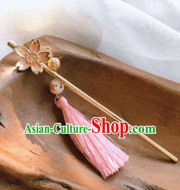 Chinese Traditional Hair Accessories Ancient Hanfu Pink Tassel Hair Clip Hairpins for Women
