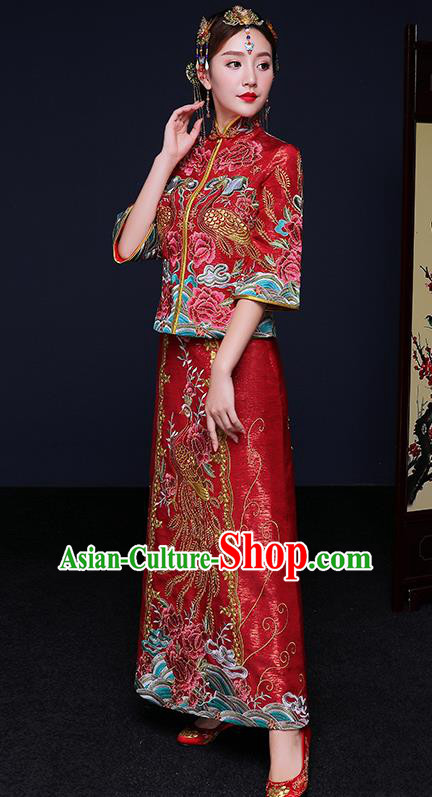 Traditional Chinese Female Wedding Costumes Ancient Red Bottom Drawer Embroidered Phoenix Peony XiuHe Suit for Bride