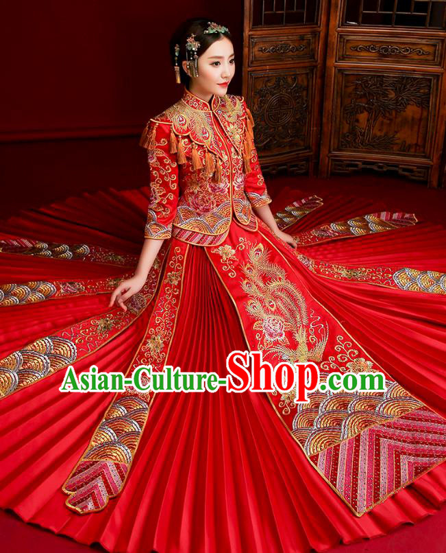 Traditional Chinese Embroidered Phoenix Slim XiuHe Suit Wedding Costumes Full Dress Ancient Bottom Drawer for Bride