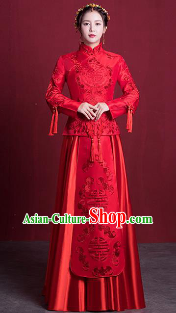 Chinese Ancient Embroidered Wedding Costumes Bride Formal Dresses Red XiuHe Suit for Women