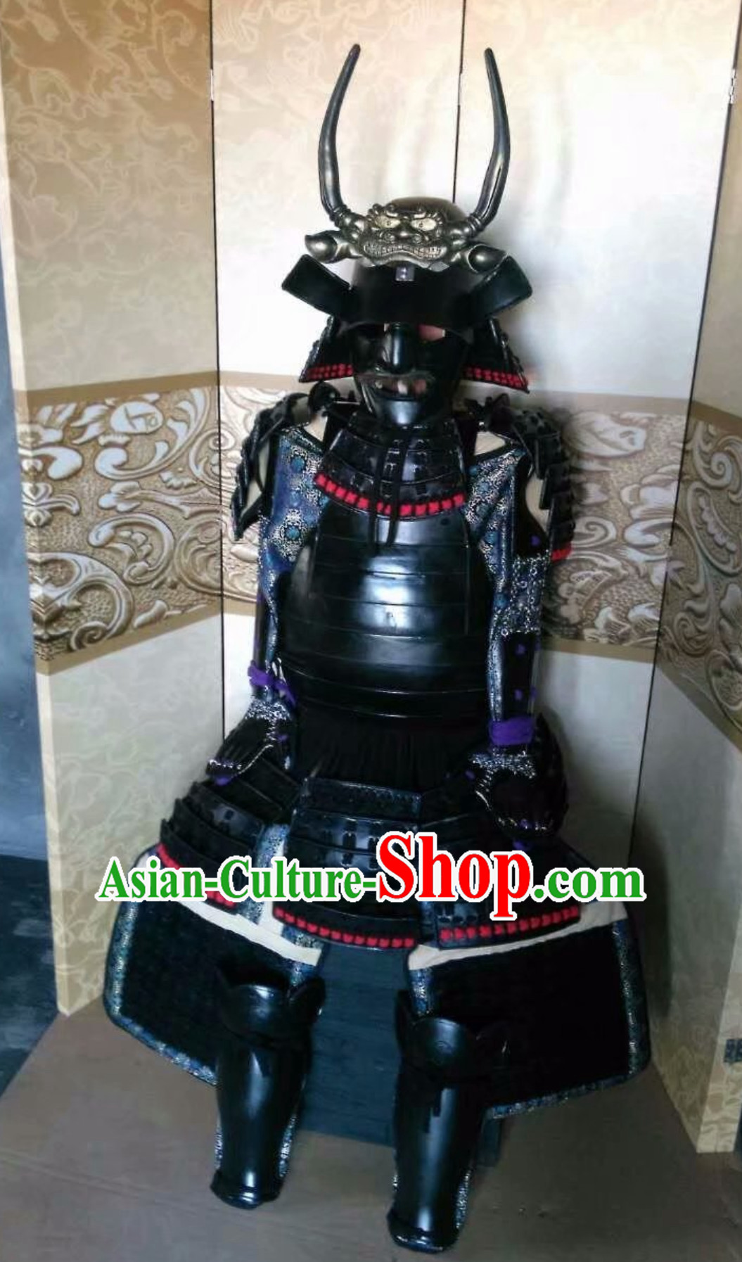 Asian Ancient Broad Shoulders Japanese Samurai Armor Replica Authentic Samurai Outfit Clothing Complete Set for Men
