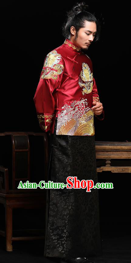 Traditional Ancient Chinese Wedding Red Costumes Bridegroom Embroidered Dragon Tang Suit for Men