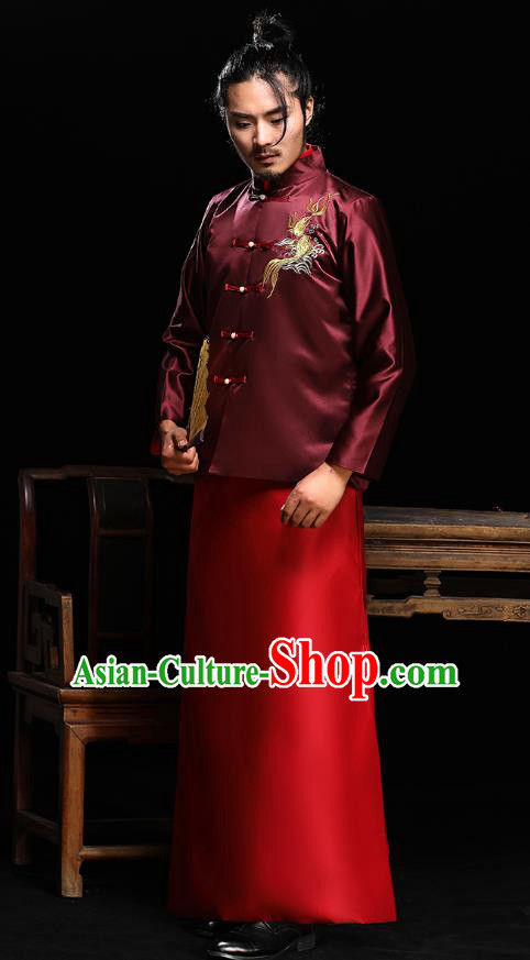 Ancient Chinese Wedding Wine Red Costumes Traditional Bridegroom Embroidered Tang Suit for Men