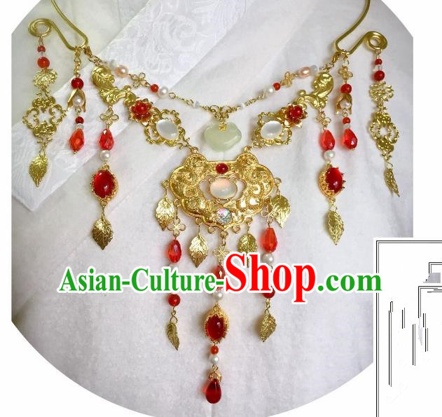 Handmade Chinese Traditional Accessories Hanfu Red Agate Tassel Necklace for Women