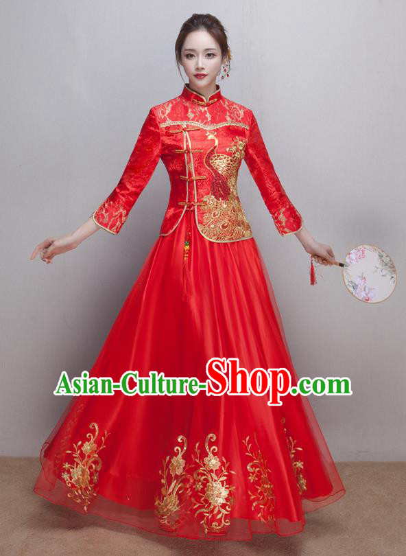 Chinese Ancient Wedding Costumes Bride Red Lace Formal Dresses Embroidered XiuHe Suit for Women