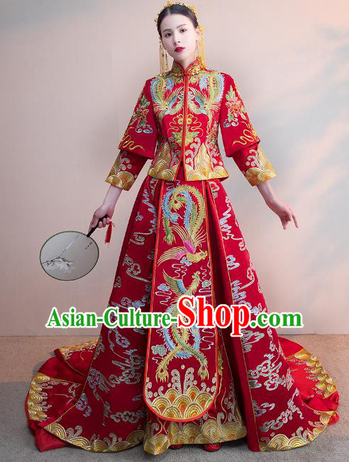 Chinese Ancient Wedding Costumes Bride Formal Dresses Embroidered Phoenix Bottom Drawer Trailing XiuHe Suit for Women