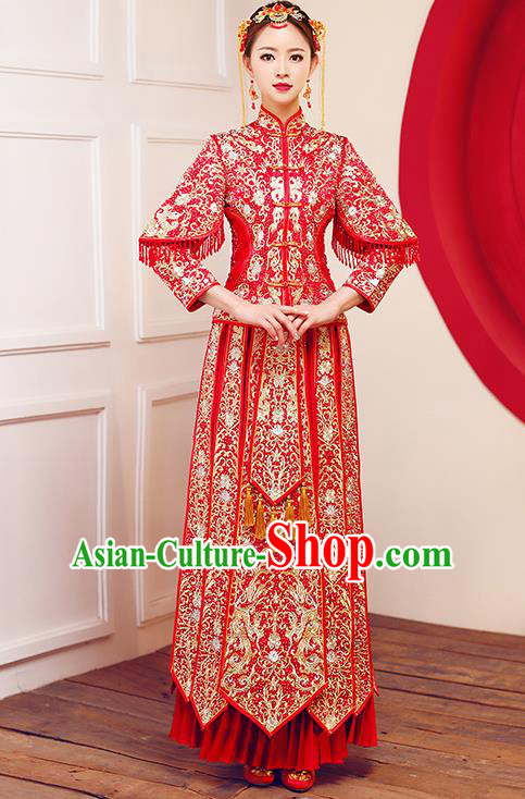 Top Grade Chinese Traditional Wedding Dress Ancient Bride Embroidered Diamante XiuHe Suit for Women