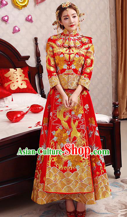 Chinese Traditional Wedding Dress Red XiuHe Suit Ancient Bride Embroidered Phoenix Toast Cheongsam for Women