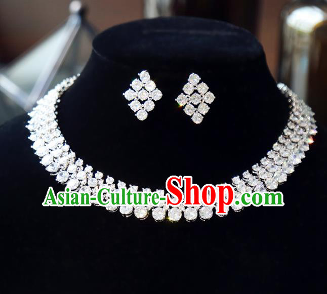 Top Grade Wedding Jewelry Accessories Bride Zircon Necklace and Earrings Complete Set for Women