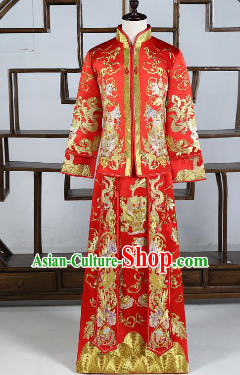 Ancient Chinese Male Wedding Toast Costumes Traditional Bridegroom Tang Suit Red Long Robe for Men