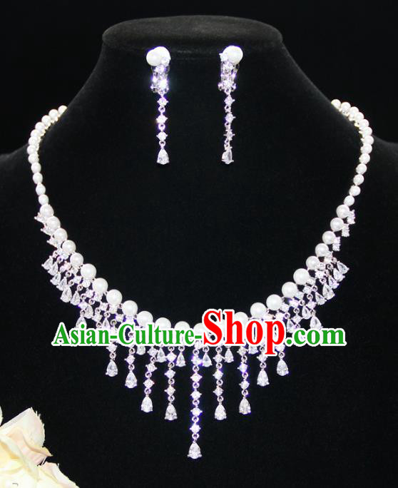 Top Grade Wedding Jewelry Accessories Bride Crystal Pearls Necklace and Earrings for Women