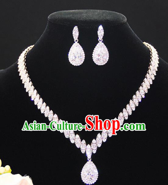 Top Grade Wedding Bride Jewelry Accessories Crystal Necklace and Earrings for Women