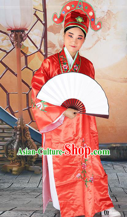 Professional Chinese Beijing Opera Costumes Peking Opera Gifted Scholar Red Robe for Adults