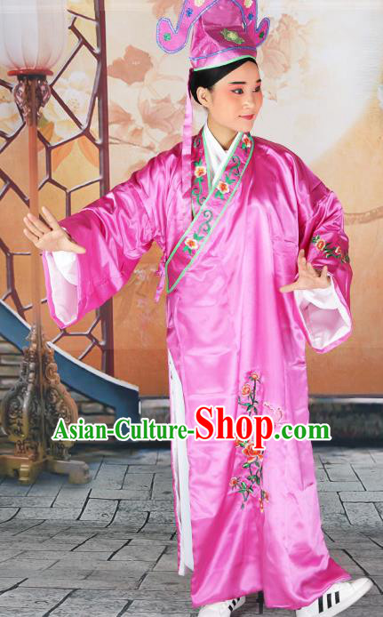 Professional Chinese Beijing Opera Costumes Peking Opera Gifted Scholar Purple Robe and Hat for Adults