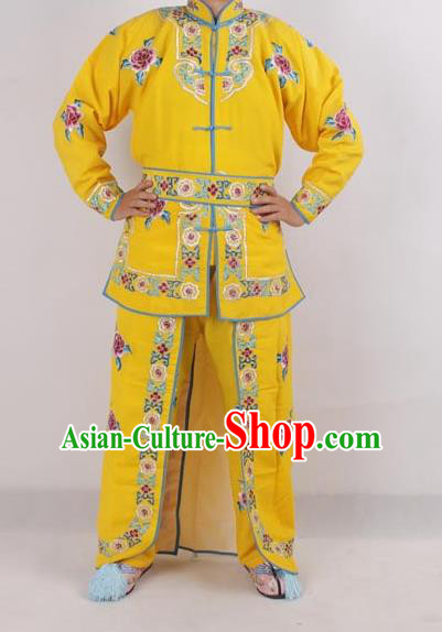 Professional Chinese Peking Opera Female Warrior Costume Ancient Swordswoman Embroidered Yellow Clothing for Adults