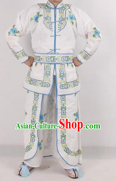Chinese Peking Opera Female Warrior Costume Ancient Swordswoman Embroidered White Clothing for Adults