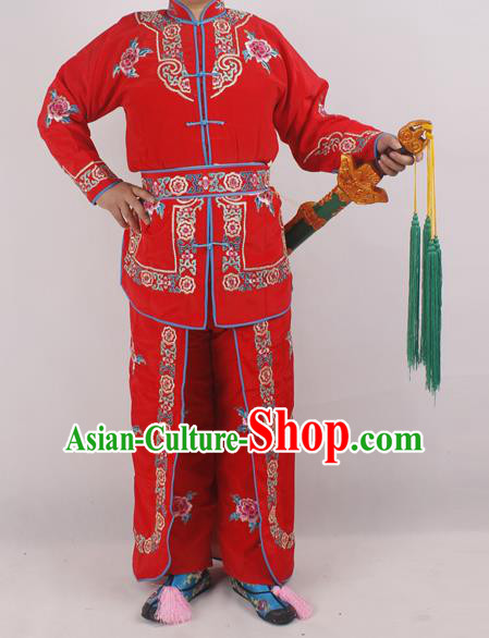 Chinese Peking Opera Female Warrior Red Costume Ancient Swordswoman Embroidered Clothing for Adults