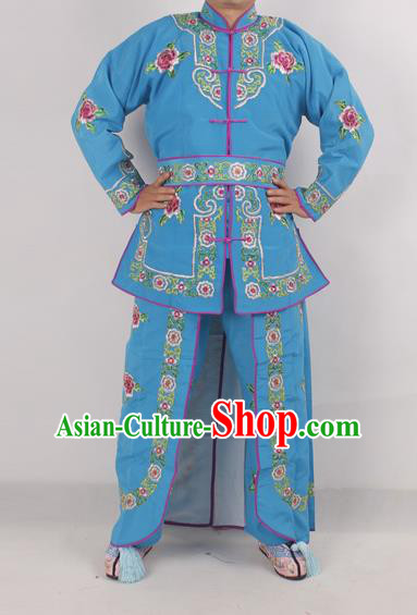 Chinese Peking Opera Female Warrior Deep Blue Costume Ancient Swordswoman Embroidered Clothing for Adults