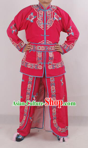 Chinese Peking Opera Female Warrior Rosy Costume Ancient Swordswoman Embroidered Clothing for Adults