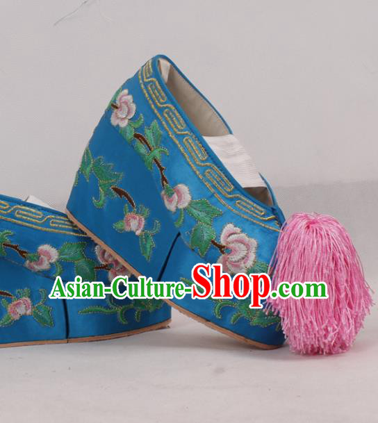 Chinese Traditional Beijing Opera Diva Embroidered Shoes Peking Opera Princess Cloth Shoes for Women