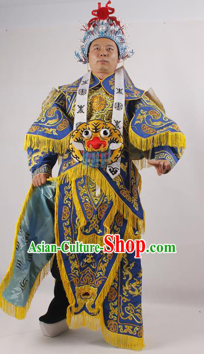 Professional Chinese Peking Opera General Blue Embroidered Costume Beijing Opera Takefu Clothing and Hat for Adults