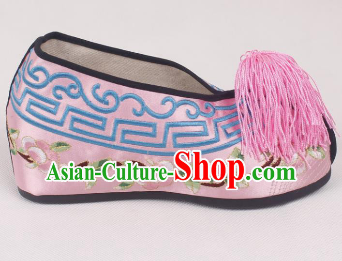 Chinese Traditional Beijing Opera Pink Embroidered Shoes Peking Opera Diva Blood Stained Shoes for Women