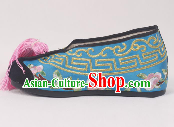 Chinese Traditional Beijing Opera Blue Embroidered Shoes Peking Opera Diva Blood Stained Shoes for Women