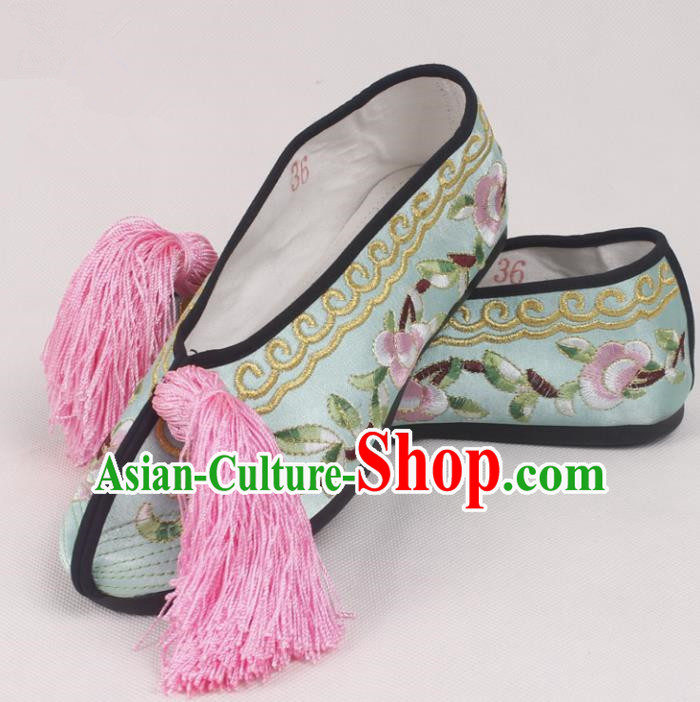 Chinese Traditional Beijing Opera Light Blue Embroidered Shoes Peking Opera Diva Blood Stained Shoes for Women