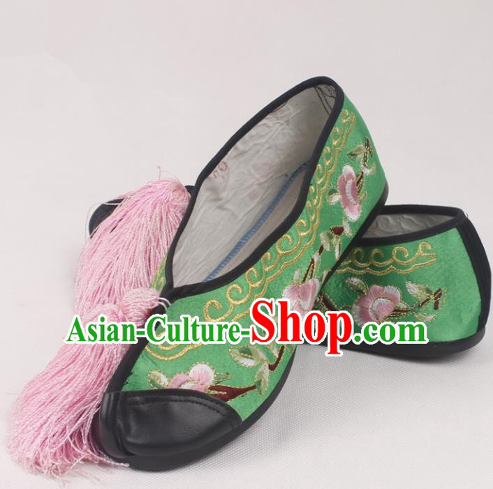 Chinese Traditional Beijing Opera Green Embroidered Shoes Peking Opera Diva Blood Stained Shoes for Women