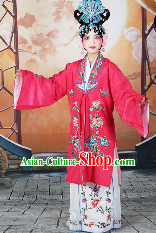 Professional Chinese Beijing Opera Actress Embroidered Peony Rosy Costumes for Adults