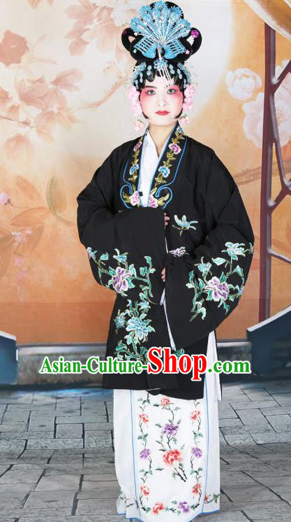 Professional Chinese Beijing Opera Actress Embroidered Peony Black Costumes for Adults